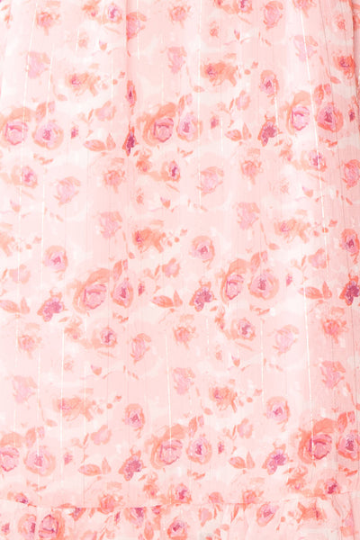 Payton Pink Patterned Short Chiffon Dress | Boutique 1861 fabric
