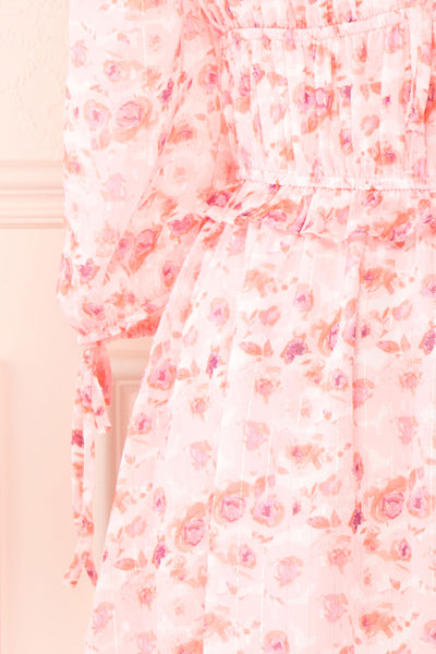 Payton Pink Patterned Short Chiffon Dress | Boutique 1861 sleeve