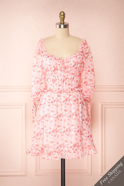 Payton Pink Patterned Short Chiffon Dress | Boutique 1861 front view
