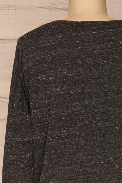 Pecani Grey Long Sleeved Top | Chandail | La Petite Garçonne back close-up