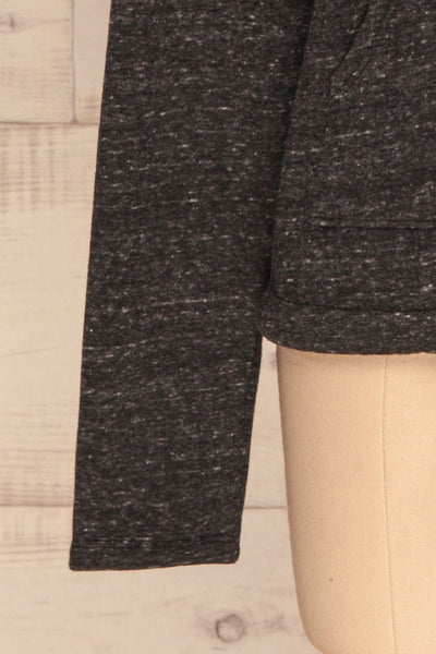 Pecani Grey Long Sleeved Top | Chandail | La Petite Garçonne bottom close-up