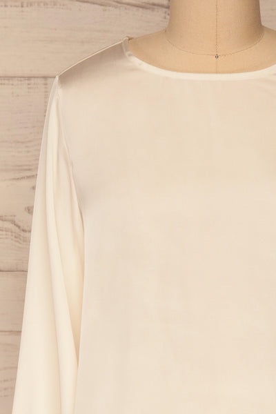 Pelplin Ivory Long Sleeve Silky Blouse | La petite garçonne  front close-up