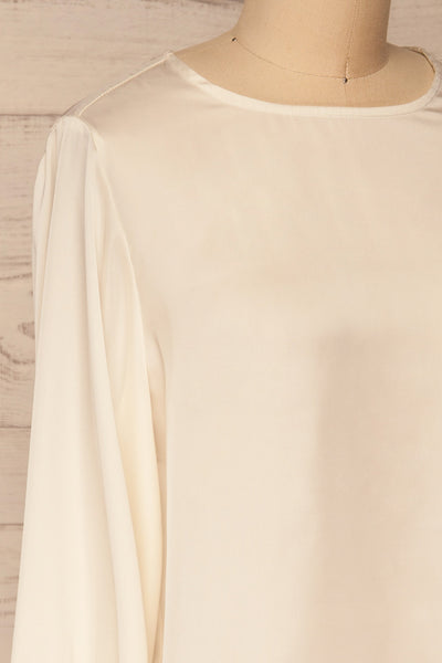 Pelplin Ivory Long Sleeve Silky Blouse | La petite garçonne  side close-up