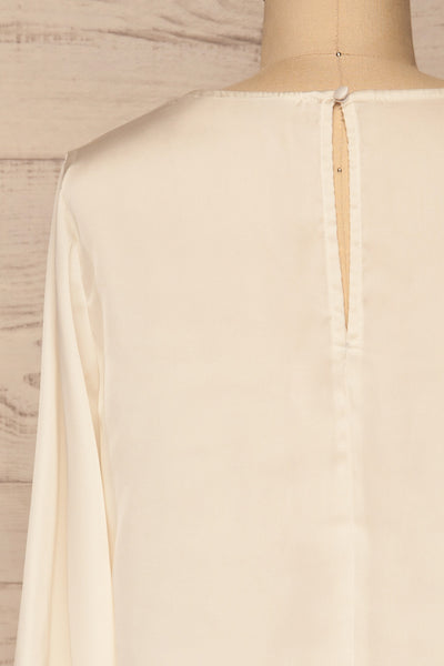 Pelplin Ivory Long Sleeve Silky Blouse | La petite garçonne  back close-up