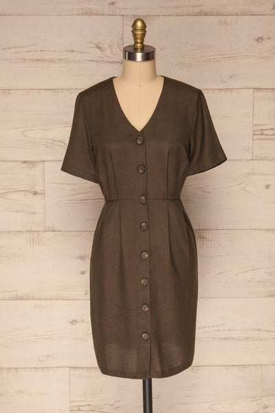 Penza Green Short Sleeve Dress | La petite garçonne front view