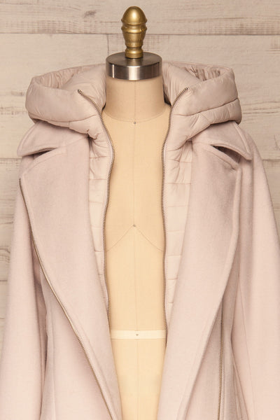 Perla Beige Pink Hooded Felt Trench Coat | La Petite Garçonne front close-up full open