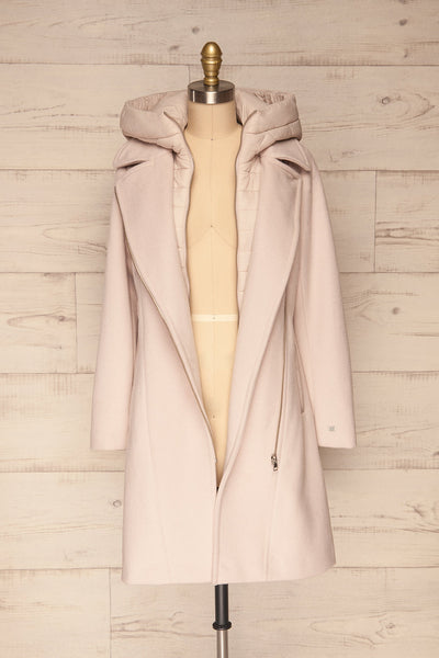 Perla Beige Pink Hooded Felt Trench Coat | La Petite Garçonne front view full open