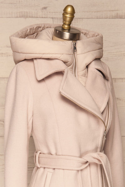 Perla Beige Pink Hooded Felt Trench Coat | La Petite Garçonne side close-up