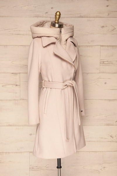 Perla Beige Pink Hooded Felt Trench Coat | La Petite Garçonne side view