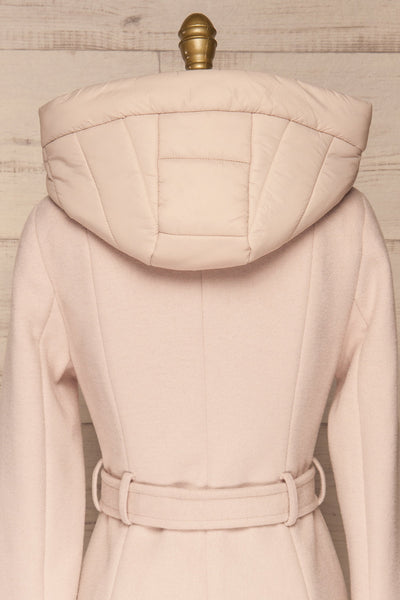 Perla Beige Pink Hooded Felt Trench Coat | La Petite Garçonne back close-up