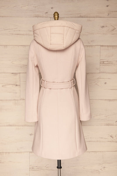 Perla Beige Pink Hooded Felt Trench Coat | La Petite Garçonne back view
