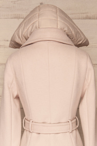 Perla Beige Pink Hooded Felt Trench Coat | La Petite Garçonne back close-up hood