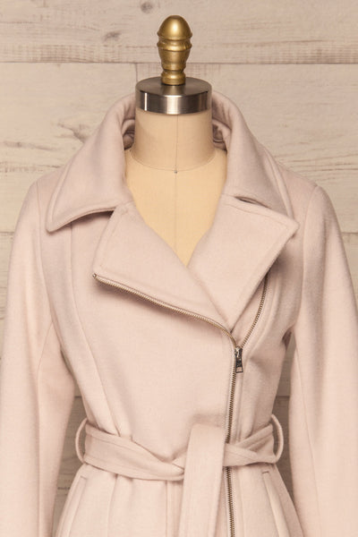 Perla Beige Pink Hooded Felt Trench Coat | La Petite Garçonne front close-up without hood