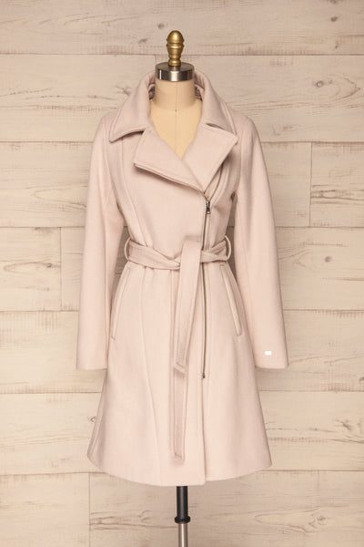 Perla Beige Pink Hooded Felt Trench Coat | La Petite Garçonne front view without hood