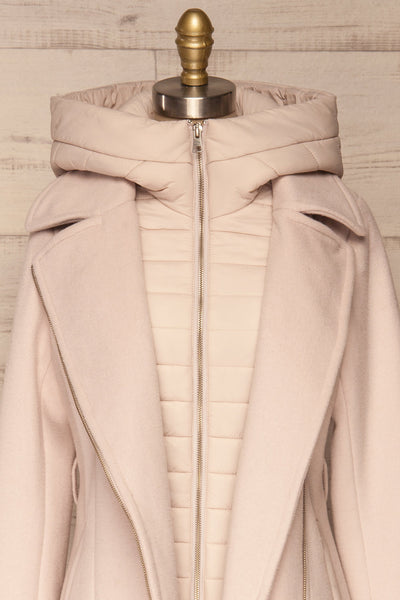 Perla Beige Pink Hooded Felt Trench Coat | La Petite Garçonne front close-up open