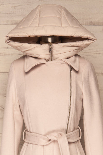 Perla Beige Pink Hooded Felt Trench Coat | La Petite Garçonne front close-up hood