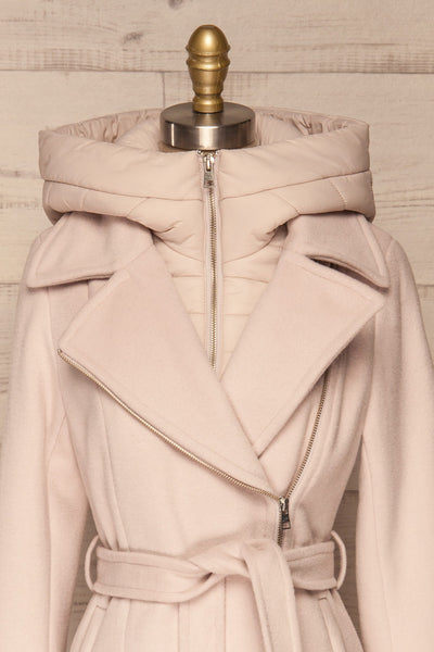 Perla Beige Pink Hooded Felt Trench Coat | La Petite Garçonne front close-up