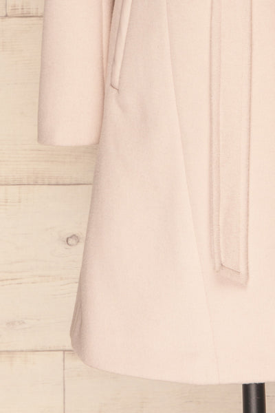 Perla Beige Pink Hooded Felt Trench Coat | La Petite Garçonne bottom close-up