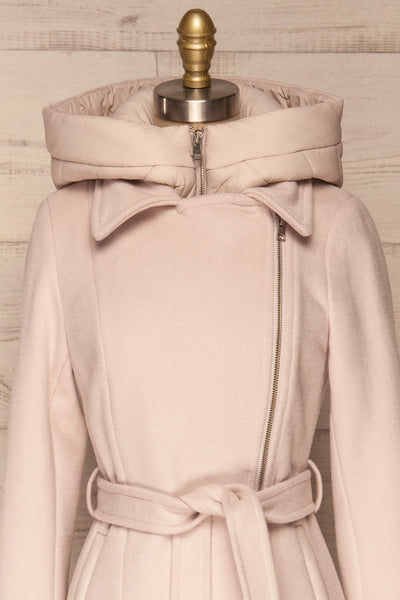 Perla Beige Pink Hooded Felt Trench Coat | La Petite Garçonne front close-up full attached