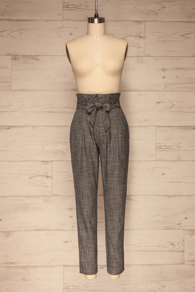 Perugia Grey High-Waisted Tailored Pants | La petite garçonne front view