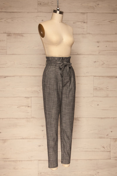 Perugia Grey High-Waisted Tailored Pants | La petite garçonne side view