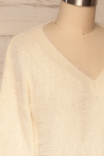 Pesaro Beige Fuzzy V-Neck Sweater | La petite garçonne side close up