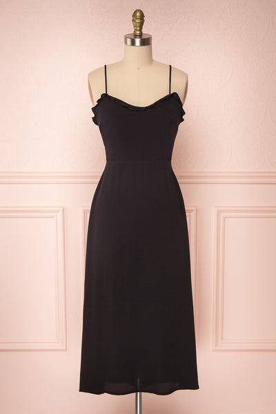 Petruso Black Sleeveless A-Line Cocktail Dress  | FRONT VIEW | Boutique 1861