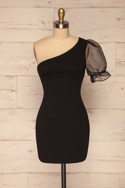Phaedra Black One Sleeve Party Dress | La petite garçonne front view