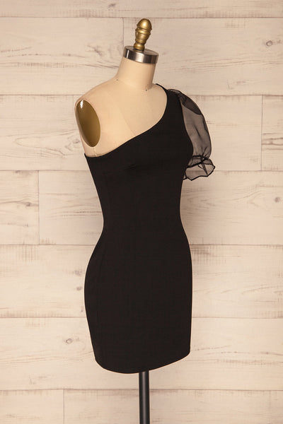Phaedra Black One Sleeve Party Dress | La petite garçonne side view