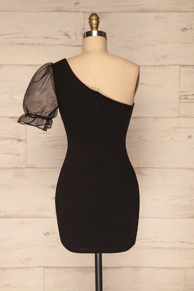 Phaedra Black One Sleeve Party Dress | La petite garçonne back view