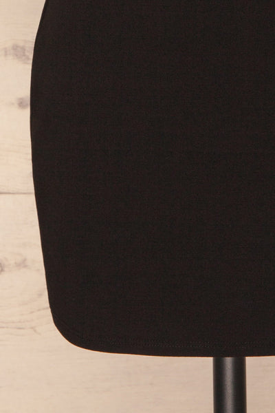 Phaedra Black One Sleeve Party Dress | La petite garçonne bottom close-up