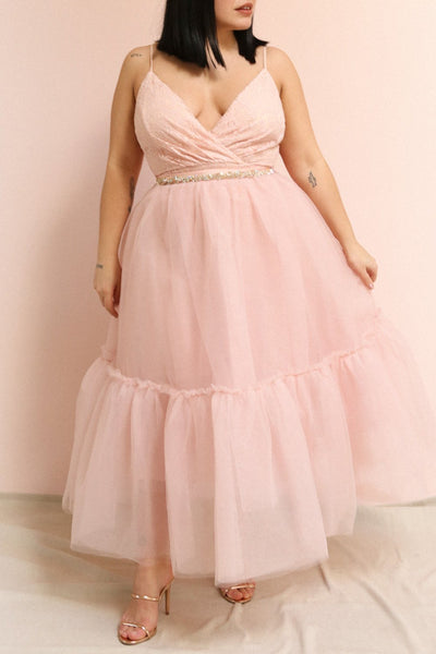 Philana Dusty Pink A-Line Tulle Skirt | Boutique 1861 on model