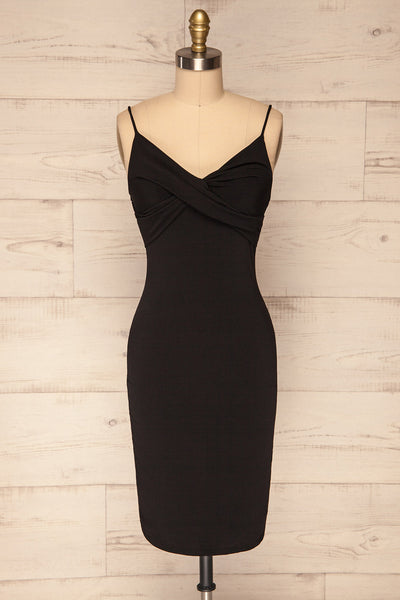 Phoebe Black Short Fitted Dress w/ V-Neck | La Petite Garçonne front view