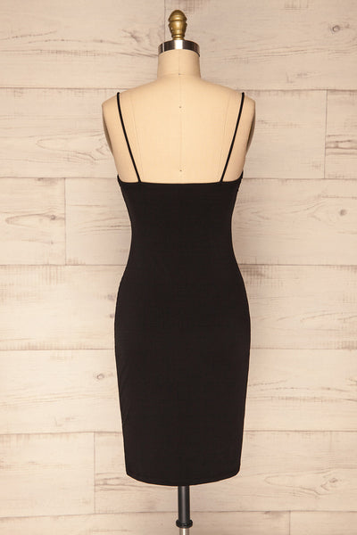 Phoebe Black Short Fitted Dress w/ V-Neck | La Petite Garçonne back view
