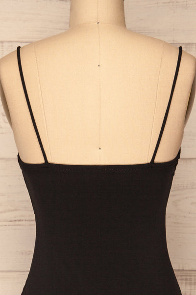 Phoebe Black Short Fitted Dress w/ V-Neck | La Petite Garçonne back close-up