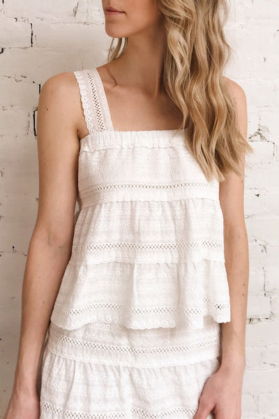 Pianella White Cropped Openwork Cami | Boutique 1861 on model