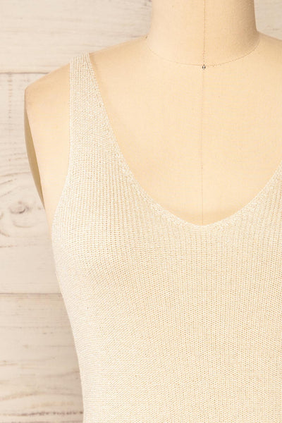 Piansk Beige Sparkling V-Neck Cami | La petite garçonne front close-up
