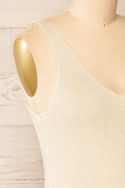 Piansk Beige Sparkling V-Neck Cami | La petite garçonne side close-up