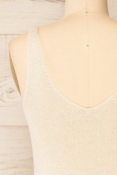 Piansk Beige Sparkling V-Neck Cami | La petite garçonne back close-up