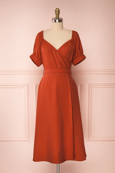 Piastow Rust Orange Short Sleeve Midi Dress | Boutique 1861 front view front view