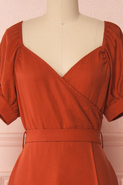 Piastow Rust Orange Short Sleeve Midi Dress | Boutique 1861 front close-up