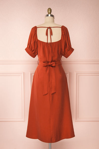 Piastow Rust Orange Short Sleeve Midi Dress | Boutique 1861 back view