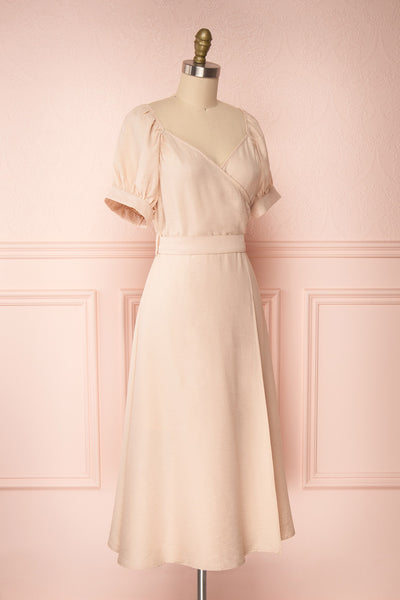 Piastow Sand Beige Short Sleeve Midi Dress | Boutique 1861 side view