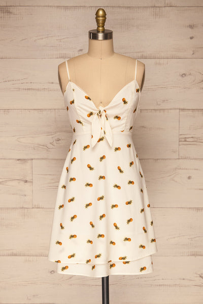 Piechowice White Pineapple Short Dress | La petite garçonne front view