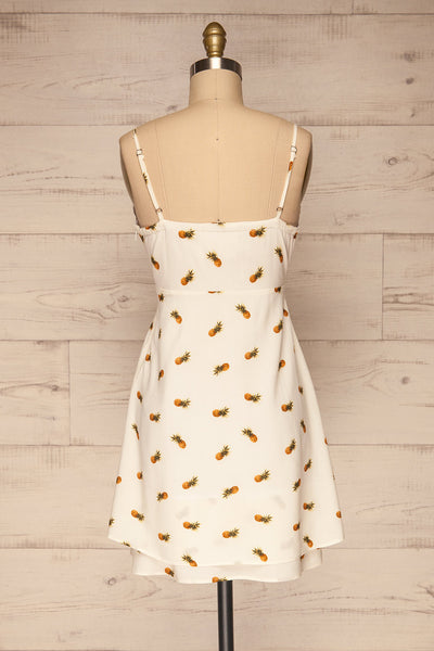 Piechowice White Pineapple Short Dress | La petite garçonne back view