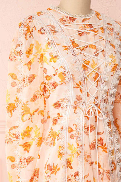 Piegi Floral Light Pink Floral Short Dress | Boutique 1861 side close-up