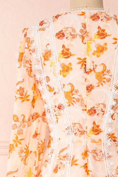 Piegi Floral Light Pink Floral Short Dress | Boutique 1861 back close-up