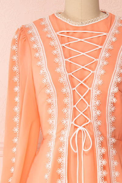 Piegi Peach Coral Long Sleeved Short Dress | Boutique 1861 front close-up