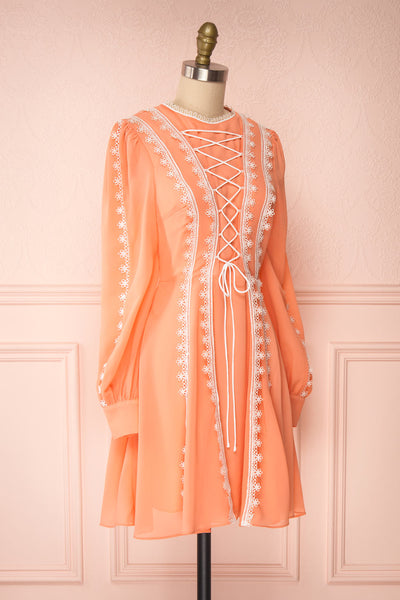Piegi Peach Coral Long Sleeved Short Dress | Boutique 1861 side view