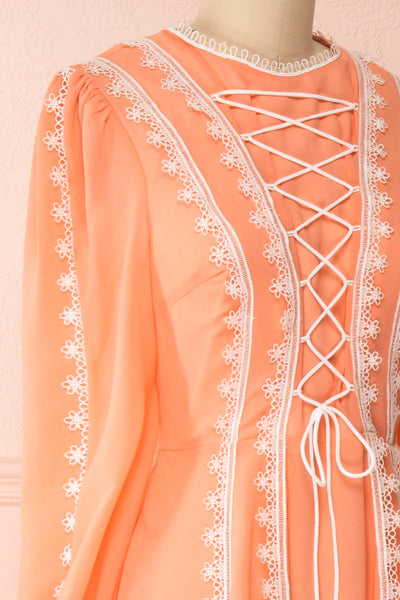 Piegi Peach Coral Long Sleeved Short Dress | Boutique 1861 side close-up